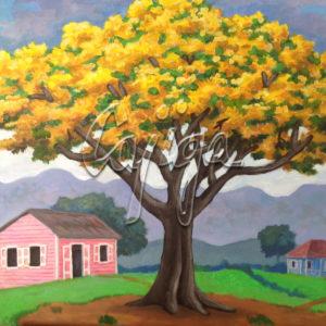 La Casa Rosa Tras el Flamboyán Amarillo