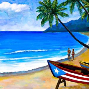 Playa, Palmeras y Botes